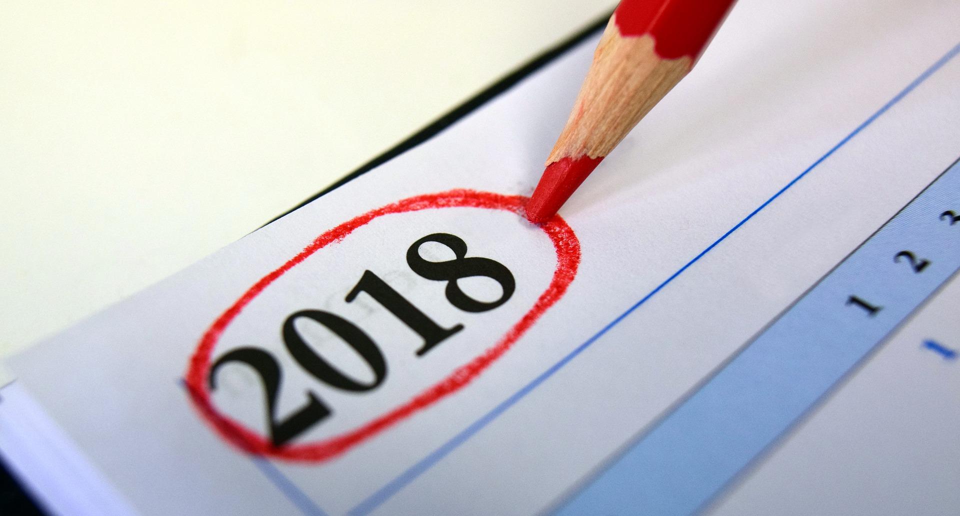 Calendar 2018 by ulleo via Pixabay (Public Domain)