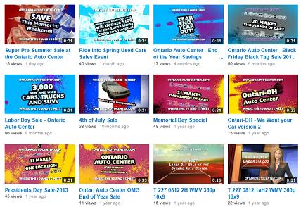 Ontario Auto Center's previous videos, sales, and specials