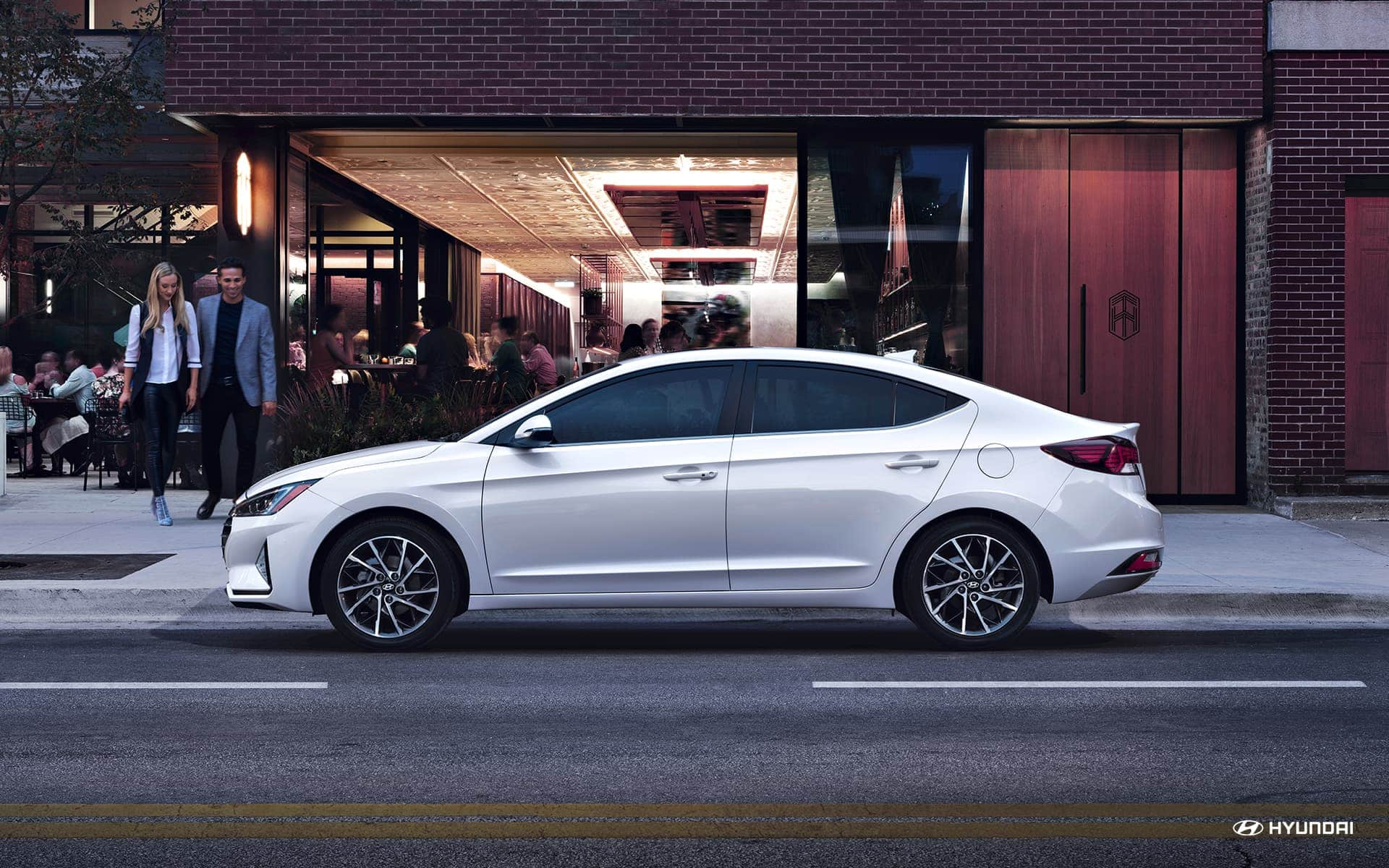 2019 Hyundai Elantra White Exterior Side Profile